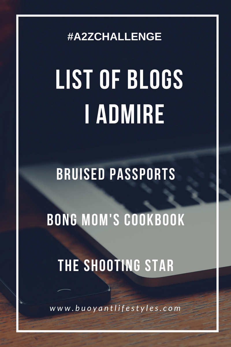 List of Blogs I admire   #A2ZChallenge