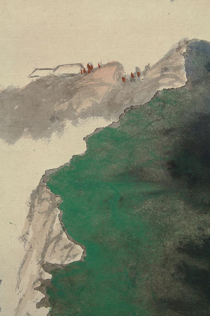 水墨 (潑彩) 條幅 十里危灘… 張大千 – 補破網