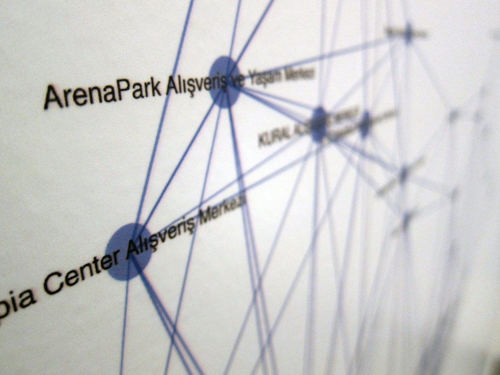 Network of Shopping Malls detail view, Istanbul Design Biennial, 2012.