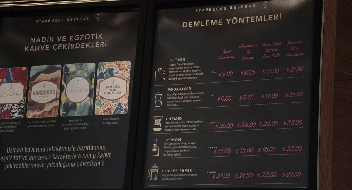 Starbucks Reserve Fiyatlar
