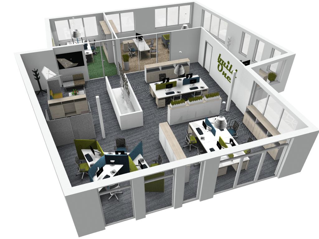 aménagement de bureau professionnel open space burama