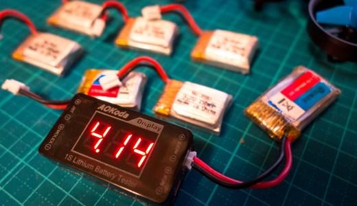 Tiny Whoopやるならコンパクトな1Sリポバッテリーチェッカーがあると便利だね!【AOKoda AOK-041】