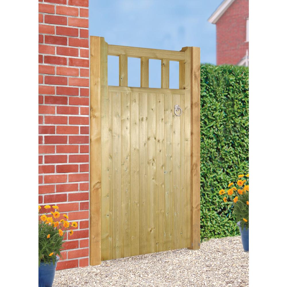 Quorn Tall Single Wooden Garden Gate 1800mm High Burbage Iron Craft