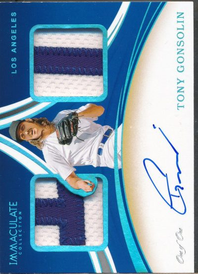 2020 Immaculate Dugout Collection Dual Platinum Tony Gonsolin RC Auto Jsy /1