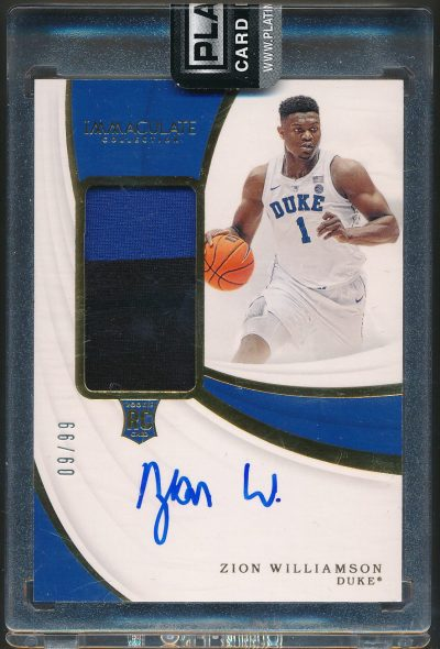 2019 Immaculate Collection Collegiate Premium Patches Rookie Autographs Zion Williamson 09/99