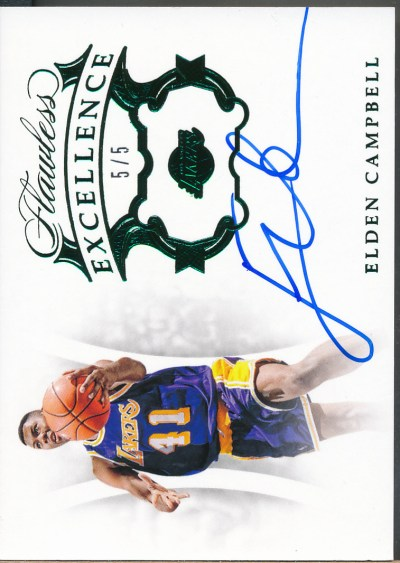 2018-19 Panini Flawless Excellence Sig Emerald #ES-ECB Elden Campbell Auto /5