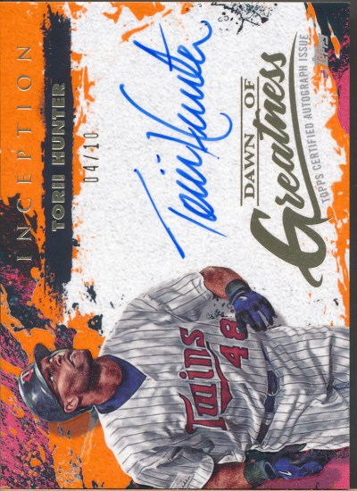 2021 Topps Inception Dawn of Greatness Orange #TH Torii Hunter Auto /10