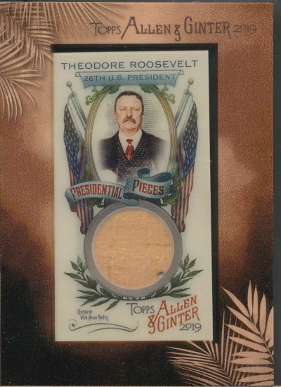 2019 Topps Allen & Ginter Mini Framed Presidential Pieces #TR Theodore Roosevelt /5