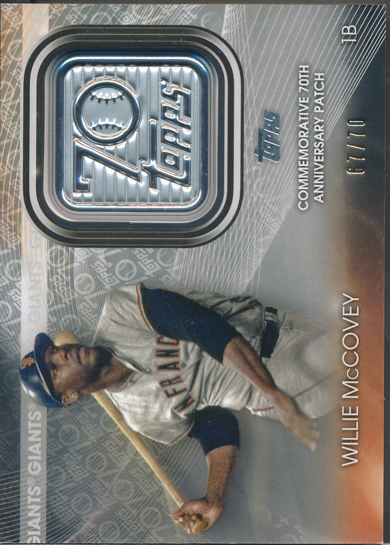2021 Topps 70th Anniversary Commemorative Patch #T70P-WM Willie McCovey