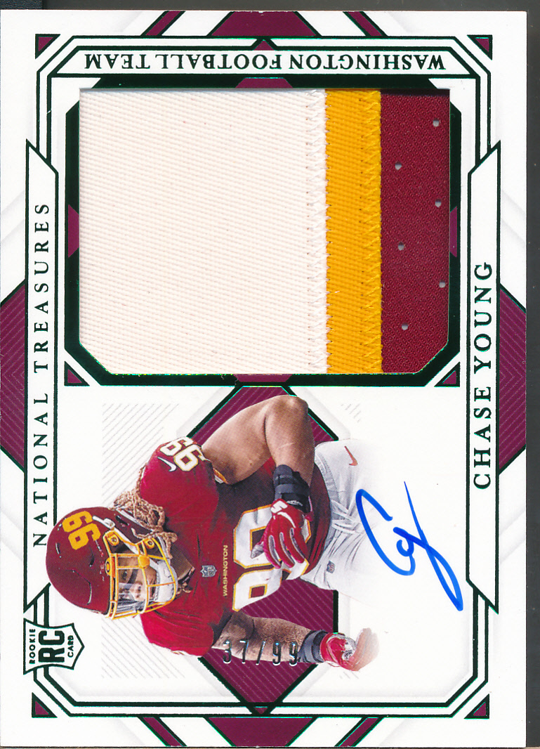 2020 National Treasures Rookie Material Signature Green Chase Young RC Jsy /99