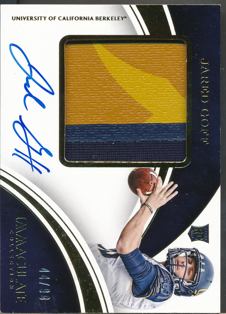 2018 Immaculate Collection Collegiate #102 Jared Goff RC Auto Jsy /99