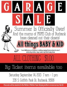 The MOMS Club Of Burbank Is Hosting A Very Big Sale September 14th!