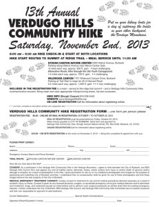 Verdugo Hills Community Hike Saturday, November 2nd