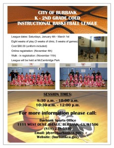 K-2nd CoEd Instructional Basketball League Starts This January. Sign Up Today!