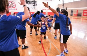 LA Clippers Youth Camp Coaches welcoming kids