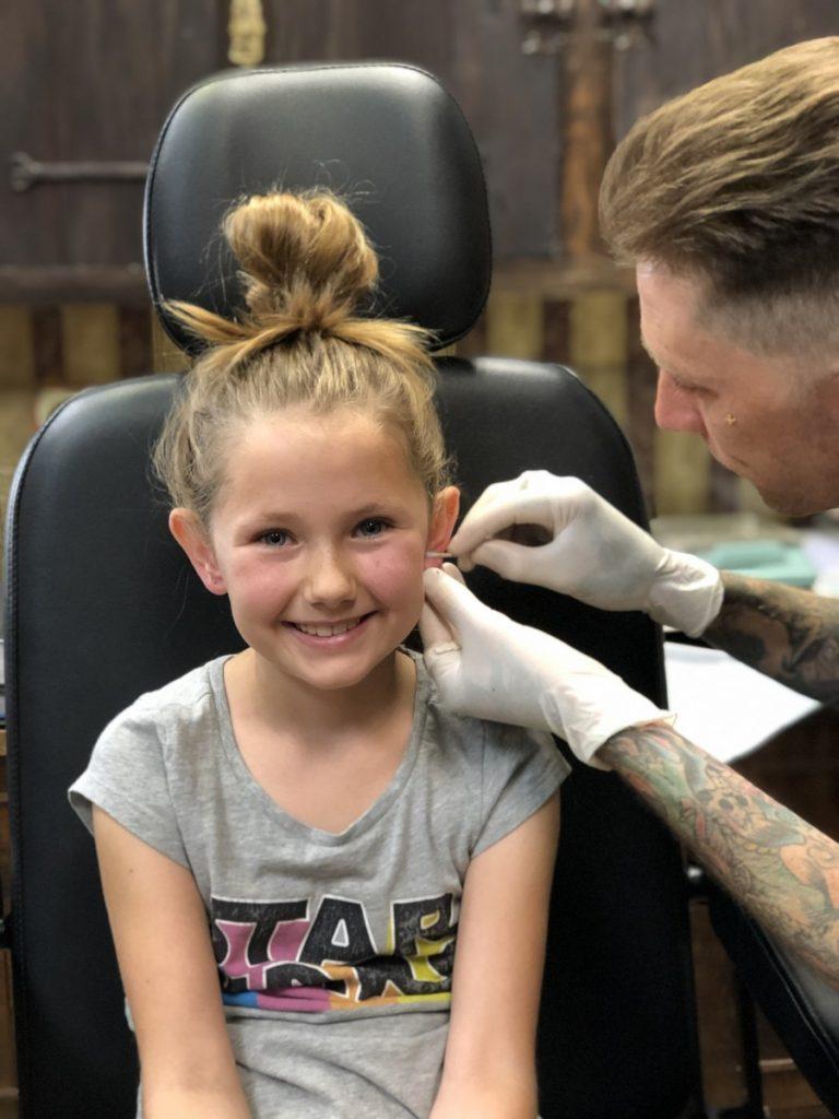 Kids Ear Piercing Near Me : piercing, VIDEO), Kids', Pierced, Tattoo, Shop,, Here's, Burbank