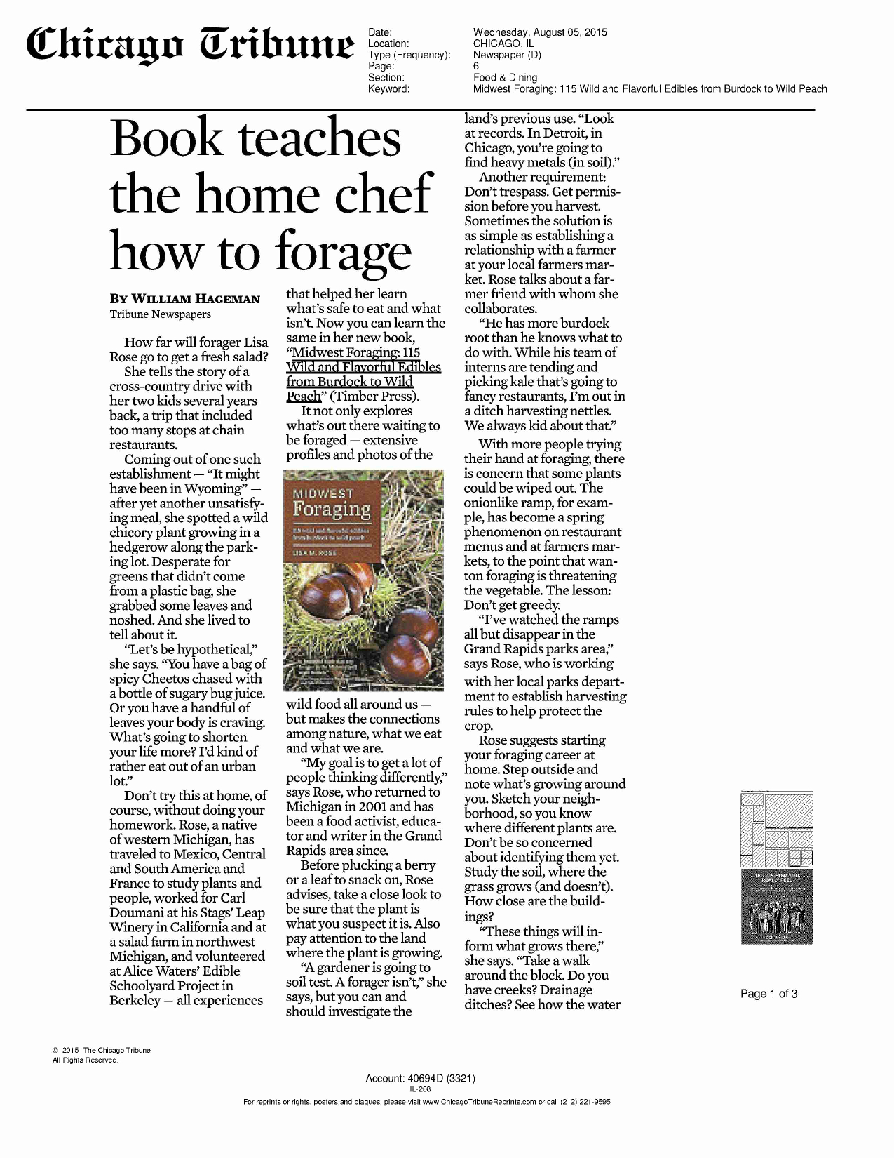 Midwest Foraging Featured In Chicago Tribune Burdock