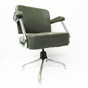 Vintage buisframe stoel in klassiek groen