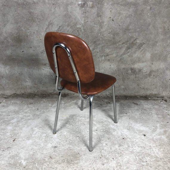 Vintage stoel, mogelijk Kembo of Car Katwijk in bruin kunstleer