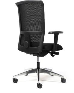 Bureaustoel Ergo 62/64 - Design Mesh rug en gestofferde zitting | Aluminium gepolijst kruisvoet. Bureaustoelen MKB