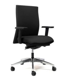 Bureaustoel Ergo 62/64 - gestoffeerde rug en gestofferde zitting | Aluminium gepolijst kruisvoet. Bureaustoelen MKB