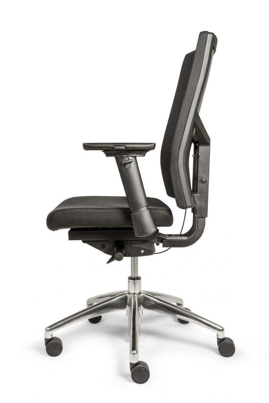 Bureaustoel Ergo 88 met gestoffeerde rug en zachte comfort zitting stof zwart. Bureaustoelen MKB