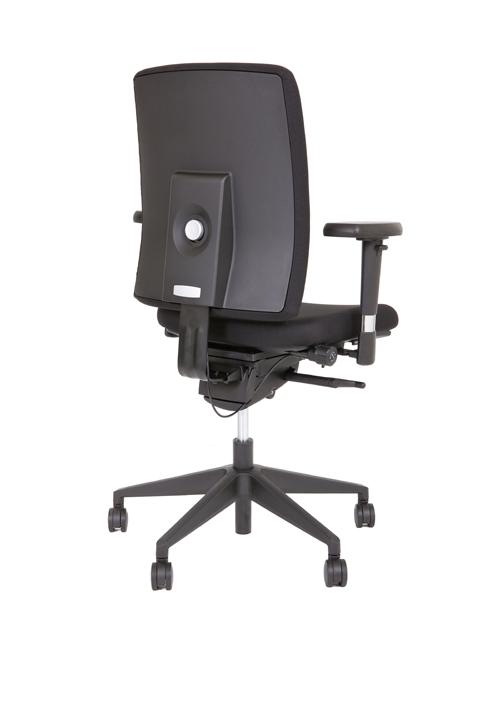 Ergo 70 NPR bureaustoel met zwarte kruisvoet en sterke zwarte stof.