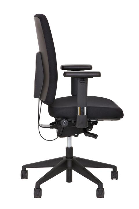 Ergo 70 NPR bureaustoel met zwarte kruisvoet en sterke zwarte stof. | Bureaustoelen MKB