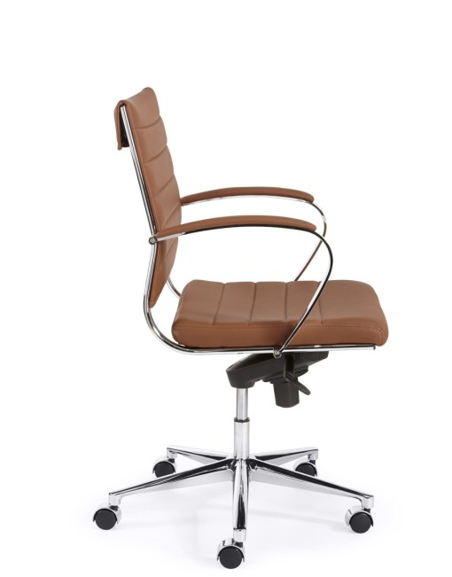 Steel 1202 met cognac eco leder chroom frame en onderstel | Bureaustoelen MKB