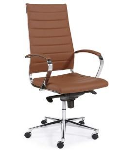 Steel bureaiustoel 1202 on cognac kleur en chroom frame en onderstel Bureaustoelen MKB