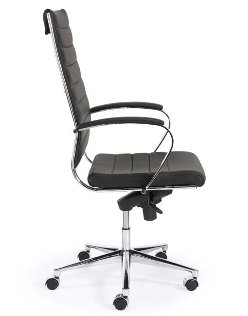 Steel 1202, hoge rug, met zwart eco leder chroom frame en onderstel | Bureaustoelen MKB