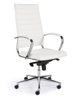 Steel 1202, hoge rug, met wit eco leder chroom frame en onderstel | Bureaustoelen MKB