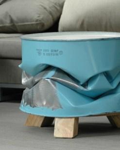 Barrel - Olie vat Geplet kleur blauw zonder kussen Bureaustoelen MKB