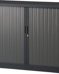 Roldeurkast 105 cm hoog zonder bovenblad en twee legborden | kleur zwart | Bureaustoelen MKB