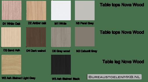 Bladkleuren en poot kleuren Nova Wood Bureaustoelen MKB