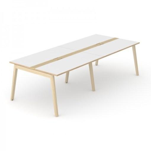 Nova Wood vergadertafel 240 x120 cm met wit blad en eiken gebeitst onderstel.Narbutas   Bureaustoelen MB