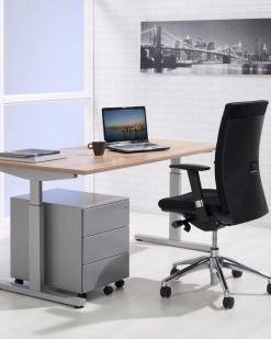 Pinta bureau met alu poot en ladeblok en eiken blad