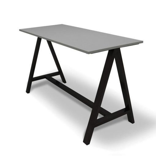 Statafel 2A Licht grijs blad onderstel zwart. Bureaustoelen MKB