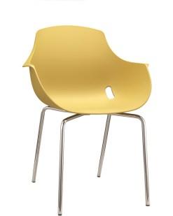 Ago Chair 4-poot chroom, Moderne-kuipstoel, stapelbaar in kleur geel. Bureaustoelen MKB