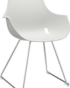 Ago Chair sledeframe chroom met moderne-kuipstoel kleur wit. Bureaustoelen MKB