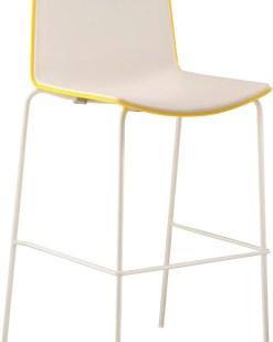 Tweet High, barstoel met sledeframe en tweekleurige zitschaal. Bureaustoelen MKB