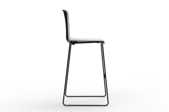 Tweet High, mooie barstoel met sledeframe en tweekleurige zitschaal