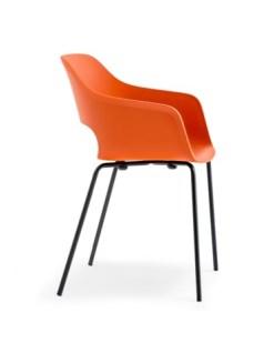 Babila kuipstoelmet armleggers, frame zwart kuip oranje. Bureaustoelen MKB