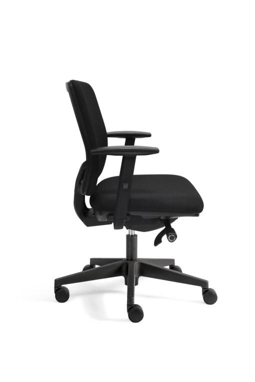Ergo 300 bureaustoel met gestoffeerde rug, hoogte instelbaar.