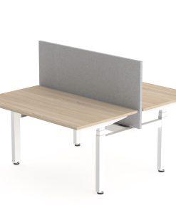 Flex Duo zit sta bureau, met scherm, wit frame en eiken blad. Buraeustoelen MKB