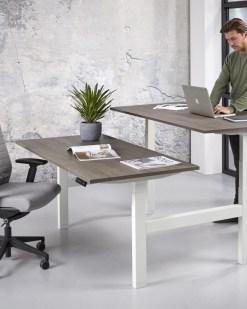 Office duo zit sta bureau, wit frame logan blad | Bureaustoelen MKB