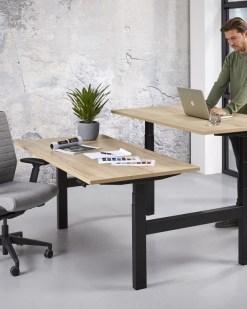 Office duo zit sta bureau, zwart frame en halifax blad | Bureaustoelen MKB