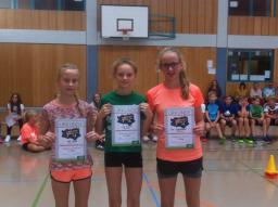 03_Mädchen 6. Klasse (v. l. n. r.) 3. Platz Lea Seidel, 2. Platz Lilly Knopik, 1. Platz Lisa Leppelmeier
