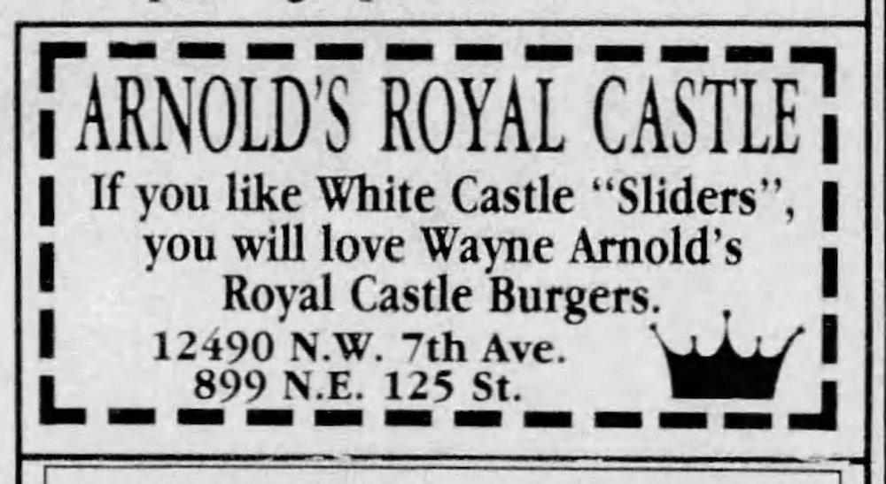 Arnold's Royal Castle Ad in the Miami Herald 10-22-93