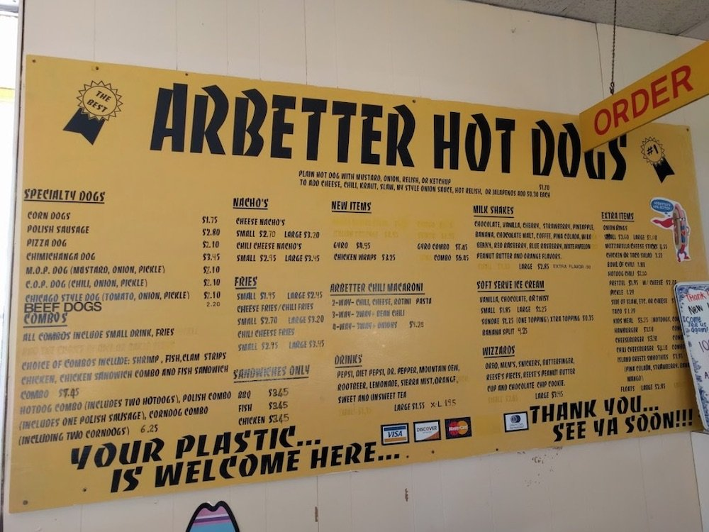 Arbetter's Hot Dogs Menu in Cocoa Beach, Florida